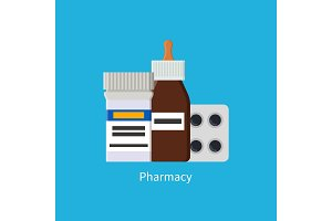 Pharmacy Poster Medications Vector