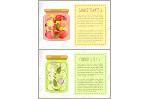 Canned Tomatoes and Zucchini Vector