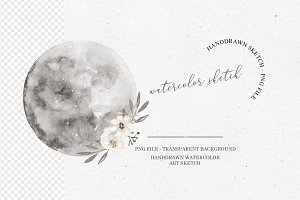 Watercolor Moon Clipart