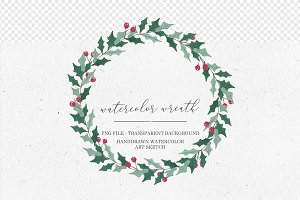 Watercolor Wreath Ilex Clipart