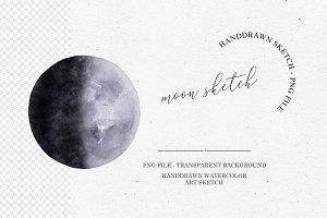 Watercolor Moon Clipart
