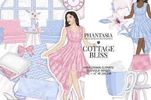 Pastel Fashion Watercolor Clipart
