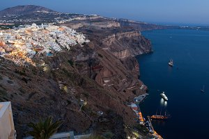 Amazing evening view of Fira with cr