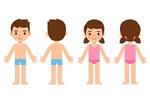 Cartoon children in underwear