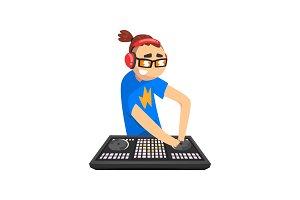 Male DJ in headphones playing music