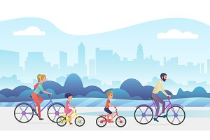 Family bicycles vacation trip