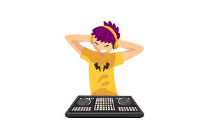 Smiling DJ with colored hair