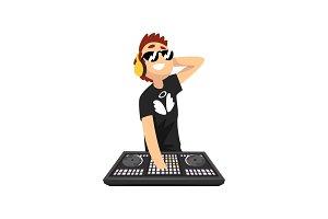 Male DJ in sunglasses and