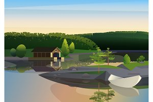 Tranquil landscape remote house dock