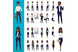 Black american business people poses