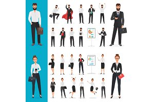 Caucasian business people poses