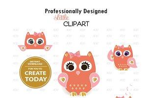 Cute peach pink gold owl clipart