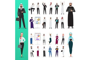 Arabian muslim business people poses
