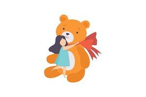 Lovely girl hugging her big teddy