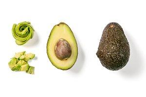 Slices of avocado on white