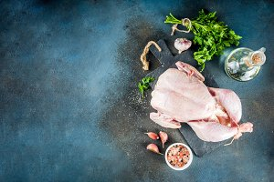 Cooking whole chicken background