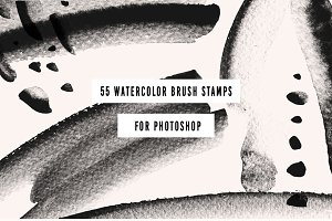 55 PS Watercolor Brush Stamps