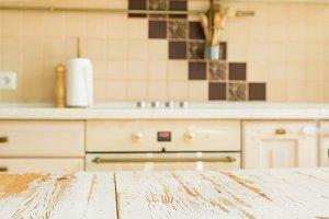 Kitchen table with blur kitchen