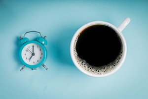 Morning concept - coffee and alarm