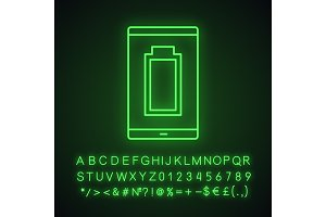 Charged smartphone battery neon icon