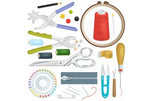 Sewing vector tailor tools sew craft