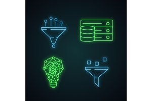 Machine learning neon light icons