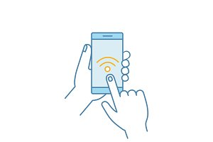 Hands holding NFC smartphone icon