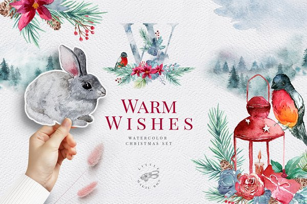 Warm Wishes. Christmas watercolors
