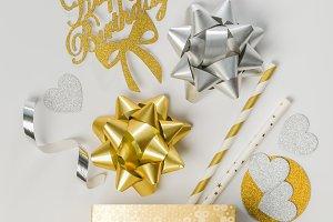 Birthday concept - golden box abd
