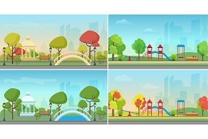City public park in summer & autumn
