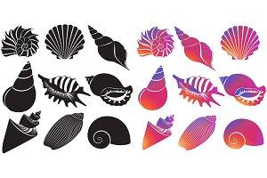 Sea shells silhouettes isolated