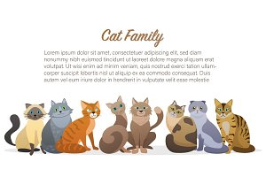 Cute cartoon cats family