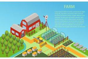 3d isometric rural farm concept