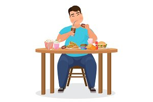 Funny fat man eating fast food