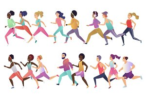 Jogging running people