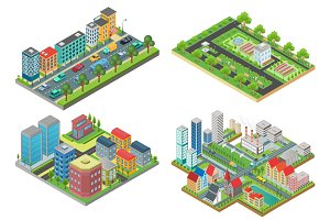 3d isometric modern city top view.