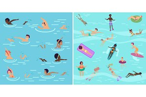 People swimming in pool or sea