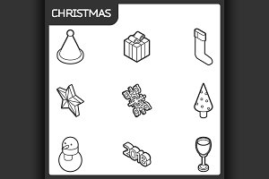 Christmas outline isometric icons