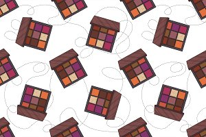 pattern of color set makeup products