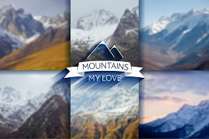 6 mountain blur backgrounds. Vector