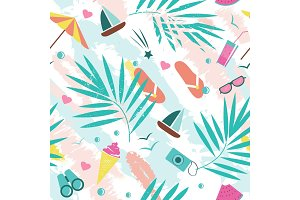 Summer time vector seamless pattern