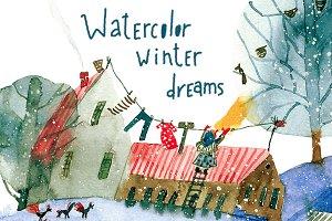 Watercolor winter dreams