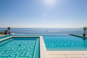 Luxury swimming pool and blue water