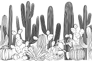 Seamless pattern with cactus. Wild