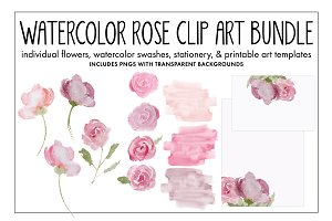Watercolor Rose Clip Art Bundle