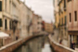Blurred canal in Venice at sunrise