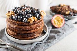 Stack of homemade chocolate pancakes