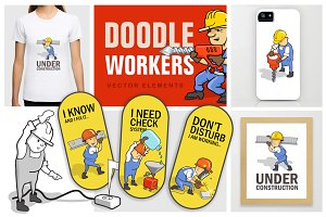 """""""Doodle Workers"""" for sticker design"""