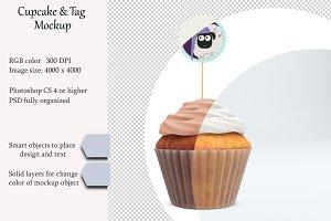 Cupcake tag mockup. PSD mockup.