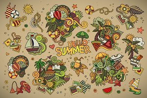 ✿ Set of Summer Doodles Elements